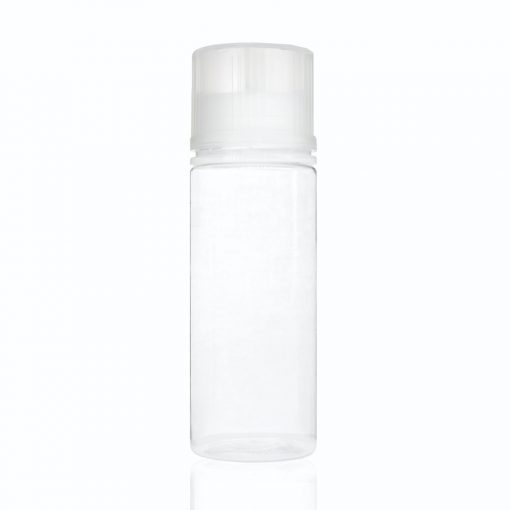 120 ml PET Clear Signature Wolf Bottle with Clear Flat Cap and Pre-Inserted Tip