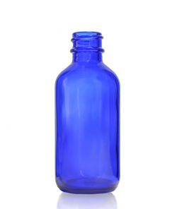 2 oz Boston Round Cobalt Blue Glass Bottle with 20-400 Neck Finish