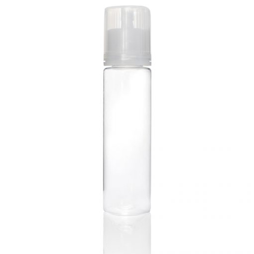 60 ml PET Signature Wolf Bottle with Clear Flat Cap and Pre-Inserted Tip