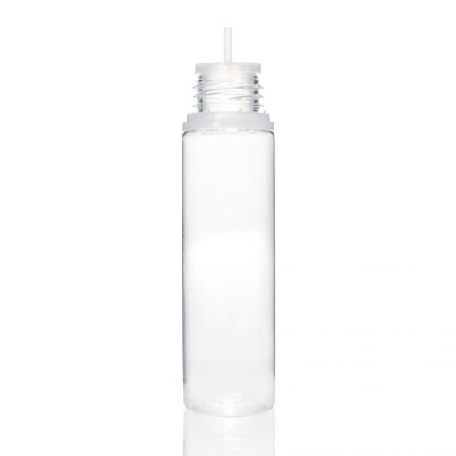 60 ml PET Signature Wolf Bottle with Clear Flat Cap and Pre-Inserted Tip for FH packaging by FHPKG