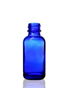 1 oz Boston Round Glass Cobalt Blue Bottle with 20-400 Neck Finish