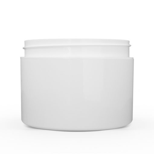 8 oz White Polypropylene Double Wall Straight Sided Jar