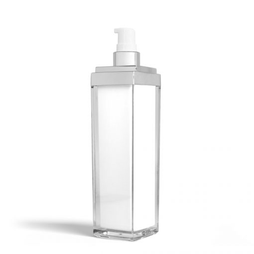 140 ml Square Acrylic Treatment Pump Bottle with Silver Cap Container Cosmetic Personal Container Bulk Wholesale FH Packaging