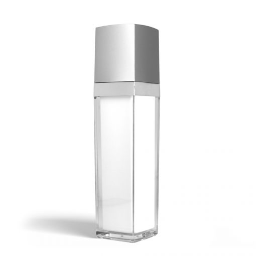 50 ml Square Acrylic Treatment Pump Bottle with Silver Cap