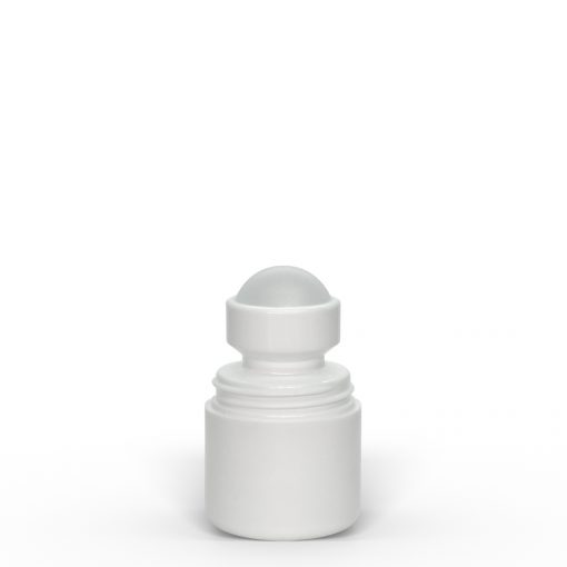 1 oz White Roll-On Deodorant Bottle with Round Edge Cap Off by FH Packaging for FHPKG
