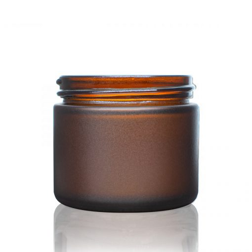 2 oz 53-400 Frosted Amber Glass Straight-Sided Round Jar