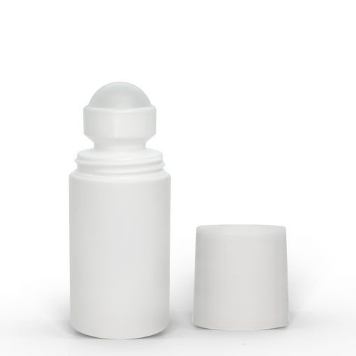 2 oz White Roll-On Deodorant Bottle with Straight Edge Cap