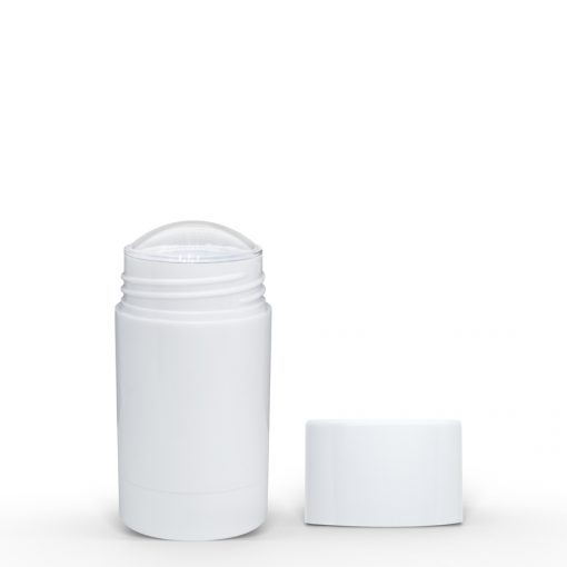 30g White Twist Up Deodorant Tube with White Screw Cap and Disc
