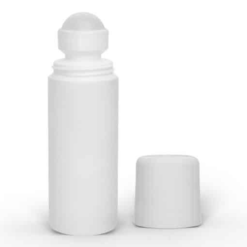 3 oz White Roll-On Deodorant Bottle with Round Edge Cap