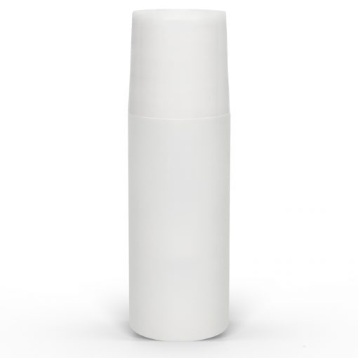 3 oz White Roll-On Deodorant Bottle with Straight Edge Cap