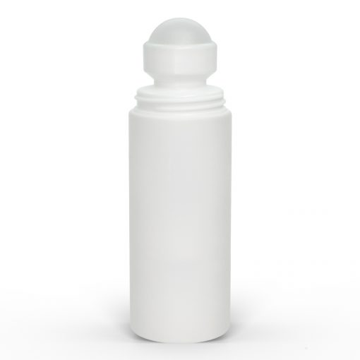 3 oz White Roll-On Deodorant Bottle with Straight Edge Cap with Cap Off FH Packaging by FHPKG