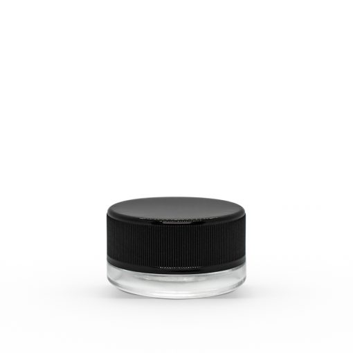 7 ml Clear Concentrate Glass Jar with Black Ribbed Child-Resistant Plastic Cap (Set)
