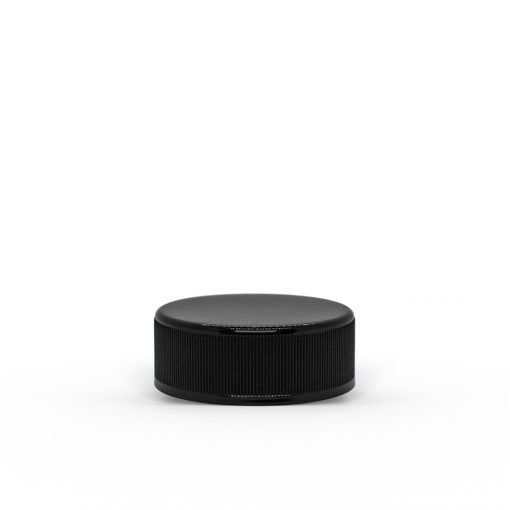 38-400 Black Ribbed Child-Resistant Plastic Cap with Foam Liner for 7ml Concentrate Jar