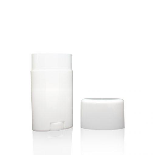 2.65 oz White Plastic Oval Deodorant Stick with Flat Top Cap