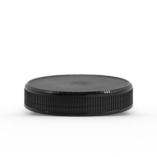 58-400 Black Ribbed Skirt Lid with (UHIS) Heat Induction Seal
