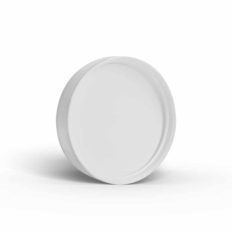 White 58-400 PP Smooth Skirt Lid with Foam Liner Inside by FH Packaging for www.fhpkg.com