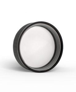 Insider 53-400-black-child-resistant-(pdt-text-instruction)-ribbed-skirt-lid-with-foam-liner