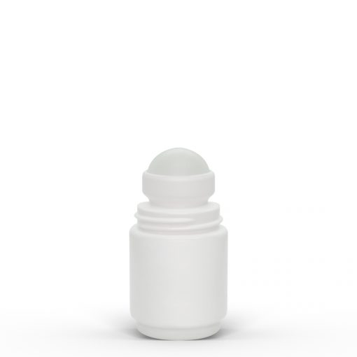 1 oz White Roll-On Deodorant Bottle with Round Edge Cap by FH Packaging for FHPKG