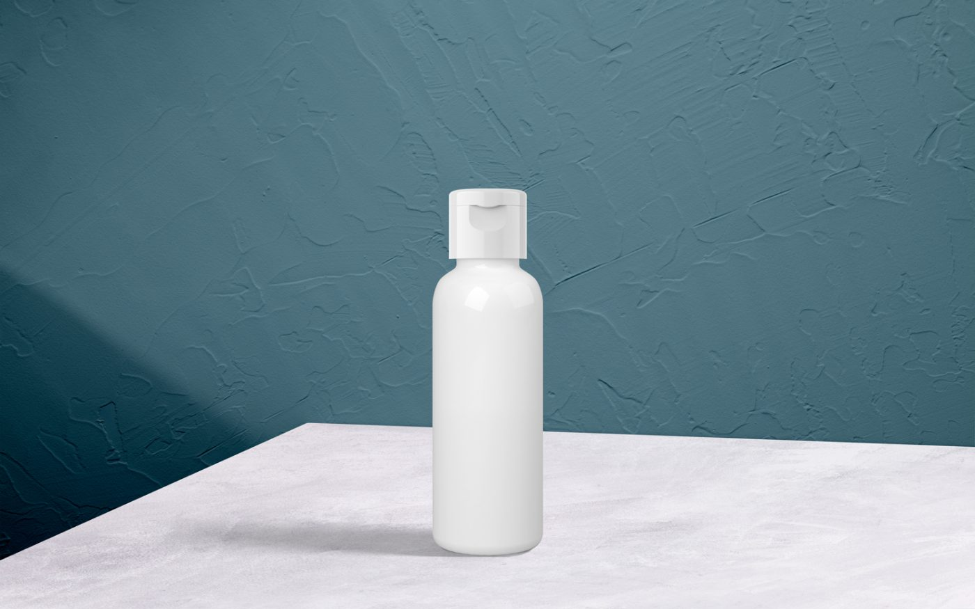White Cosmo Bottle with White Flip Top Cap Pet Care Packaging