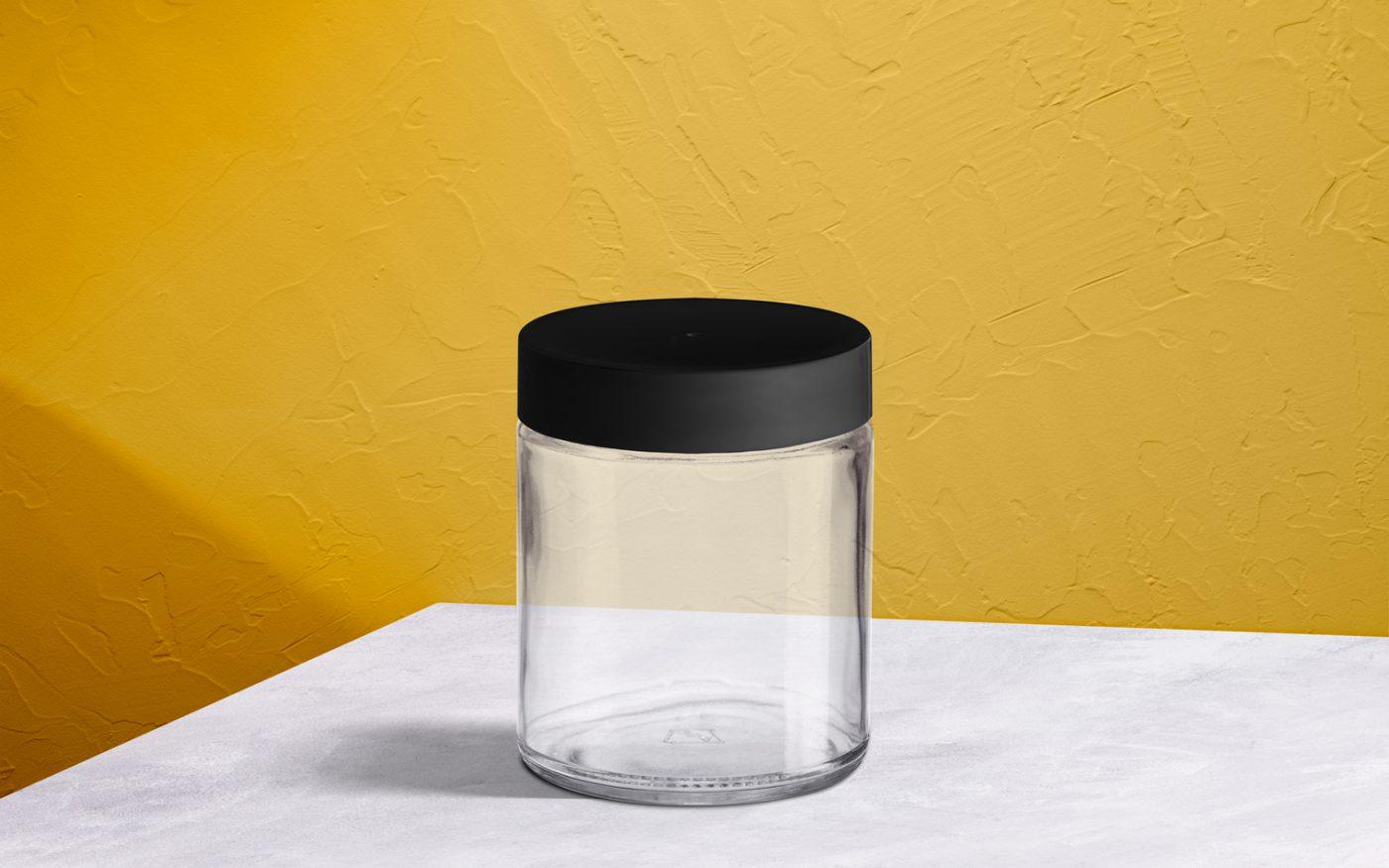 Glass Jar with CRC Black Cap Closure Pet Care Packaging