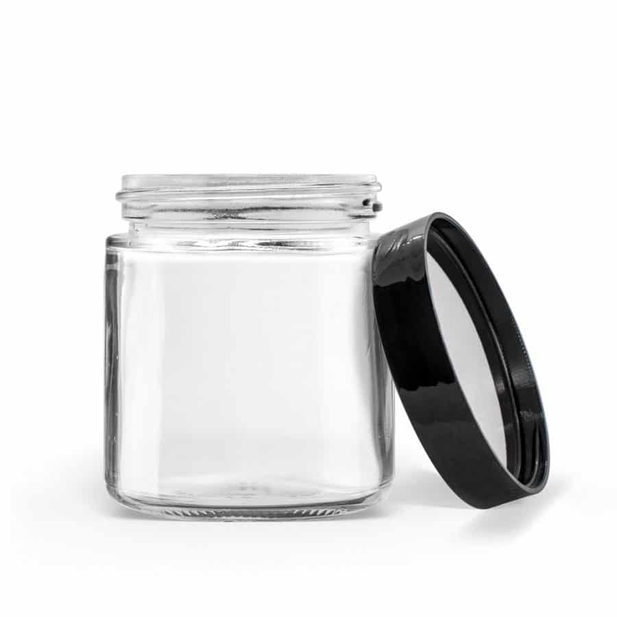 Glass Straight Sided Jar with Black Cap with PS Liner