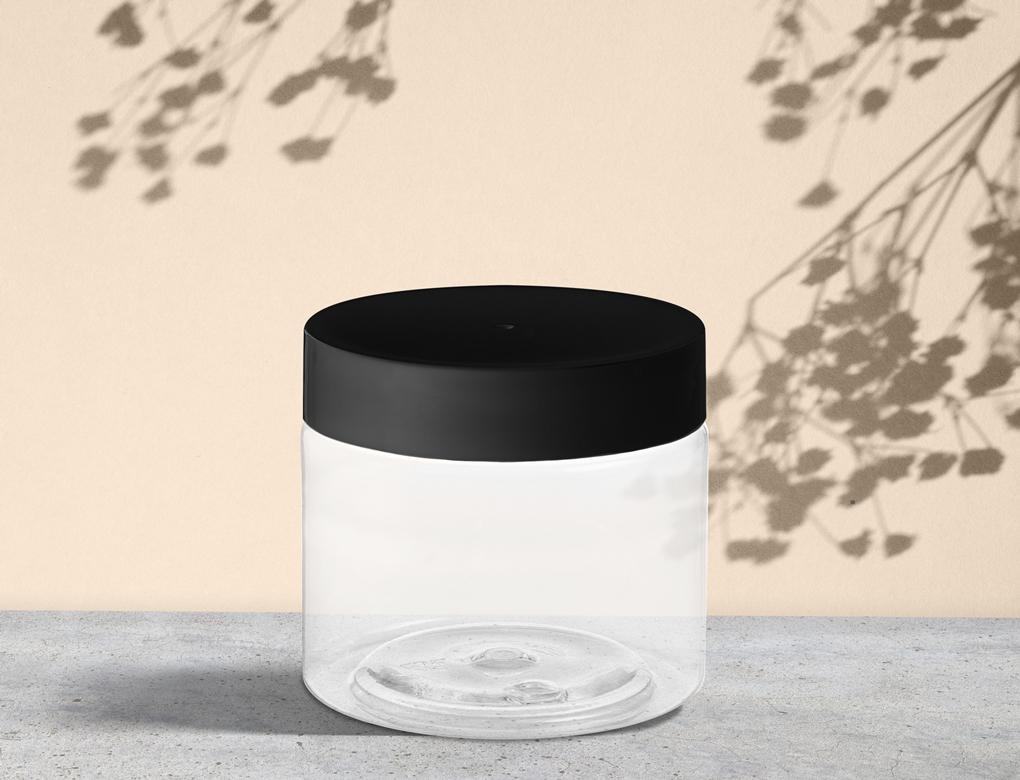 Plastic PET Jar with Black Cap Skin care