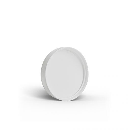 White 48-400 PP Smooth Skirt Lid with Foam Liner Bottom