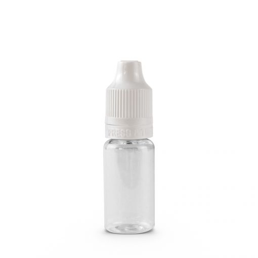 10 ml PET Plastic Dripper Bottle Assembly with White Child Resistant Cap & Tip On