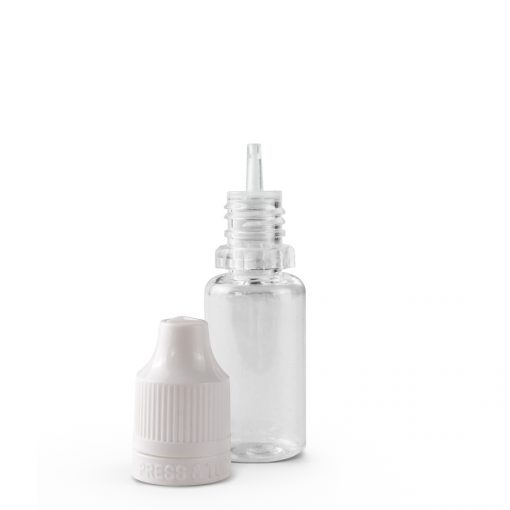 10 ml PET Plastic Dripper Bottle Assembly with White Child Resistant Cap & Tip Off