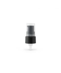 Black 20-410 Smooth Skirt Dispensing Treatment Pump with Clear Cap and 100mm Dip Tube