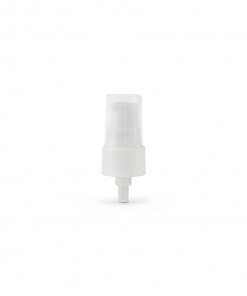 White 20-410 Smooth Skirt Dispensing Treatment Pump with Clear Cap and 100mm Dip Tube