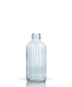 8 oz Clear Boston Round Glass Bottle with 28-400 Neck Finish