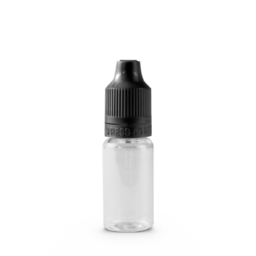 10 ml PET Plastic Dropper Bottle Assembly with Black Child Resistant Cap & Tip On