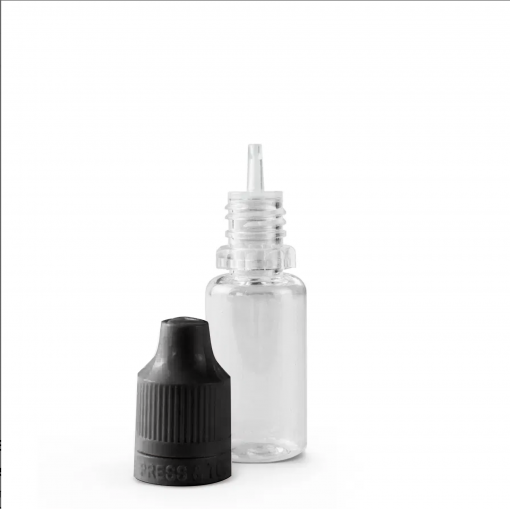 10 ml PET Plastic Dripper Bottle Assembly with Black Child Resistant Cap & Tip Off