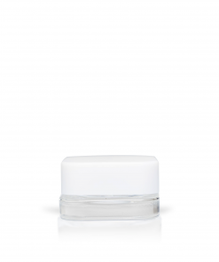 9 ml Clear Cube Concentrate Glass Jar with White Child-Resistant Cap