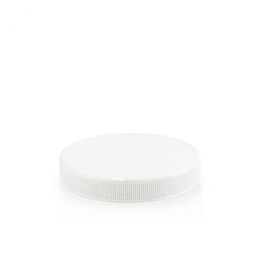 48-400 White PP Ribbed Skirt Lid with Liner
