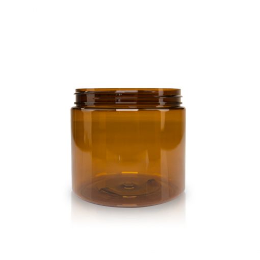 16 oz Amber PET Straight Sided Jar 89-400 Neck Finish